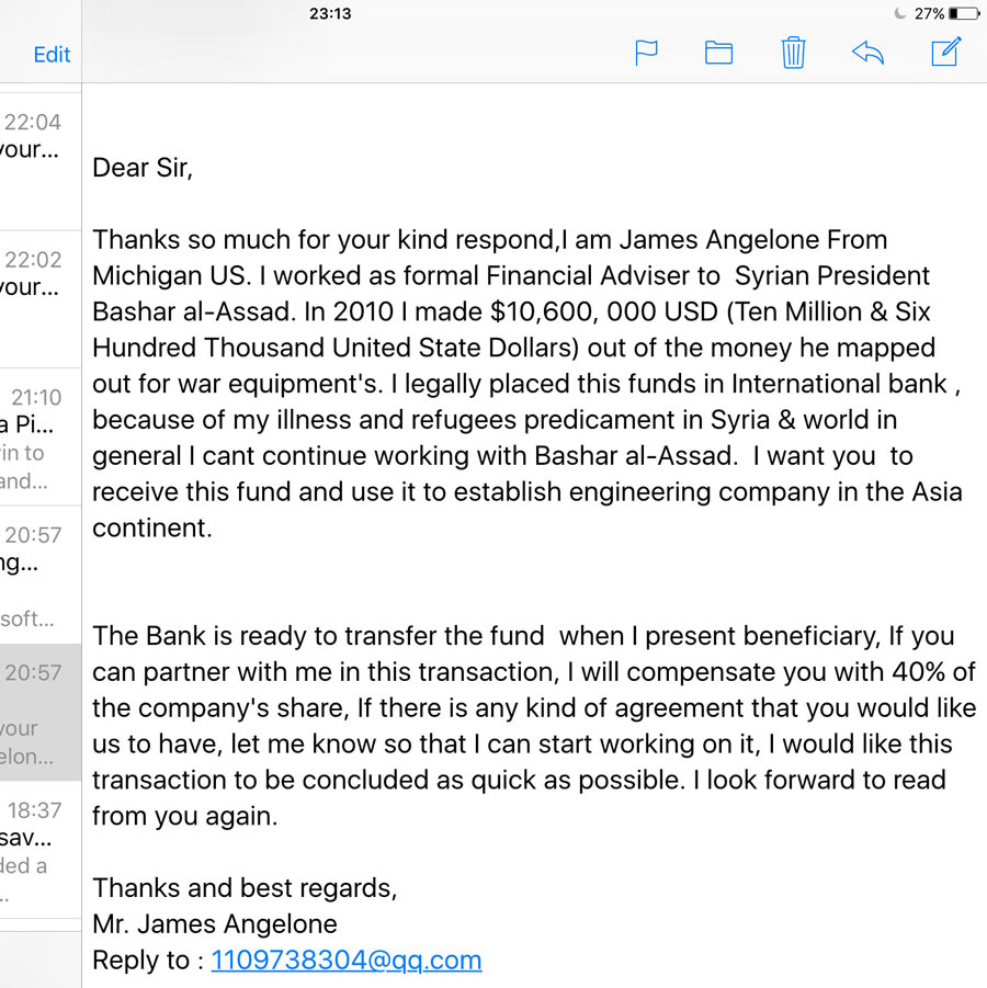 e mail scams